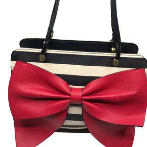 Betsey Johnson Cream Red Girls Tie Shoulder Bag